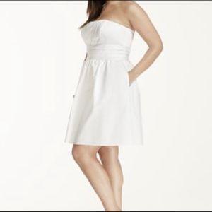 Strapless David's Bridal Dress with Pockets